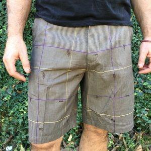 BillaBong Men's Embroidered Logo, Plaid Shorts.